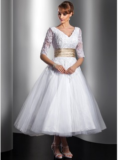 A-Line/Princess V-neck Tea-Length Tulle Charmeuse Wedding Dress With Lace Sash Beading