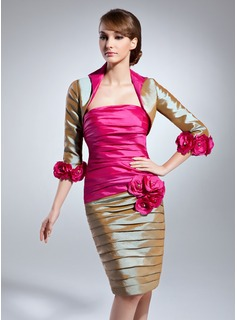 Sheath/Column Strapless Knee-Length Taffeta Mother of the Bride Dress With Ruffle Beading Flower(s)