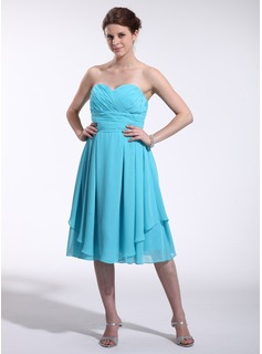 Empire Sweetheart Knee-Length Chiffon Homecoming Dress With Ruffle (022026269)
