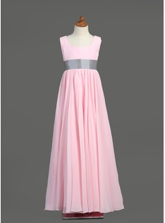 Empire Square Neckline Floor-Length Chiffon Taffeta Junior Bridesmaid Dress With Sash (009022454)