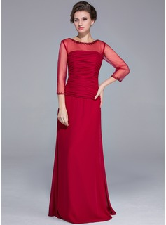 Sheath/Column Scoop Neck Floor-Length Chiffon Tulle Mother of the Bride Dress With Beading Sequins