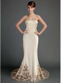 Sheath/Column Chapel Train Charmeuse Wedding Dress With Lace