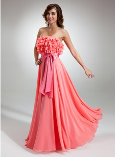 A-Line/Princess Strapless Floor-Length Chiffon Charmeuse Prom Dress With Sash (018016365)