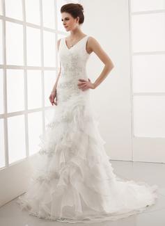 Vestidos princesa/ Formato A Decote V Cauda de sereia Organza de Vestido de noiva com Bordado Apliques de Renda Babados em cascata