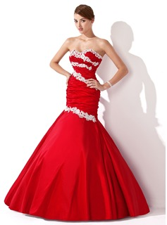 Trumpet/Mermaid Sweetheart Floor-Length Taffeta Prom Dress With Ruffle Lace Beading Sequins