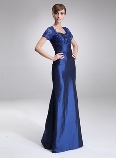 Sheath Sweetheart Floor-Length Taffeta Lace Mother of the Bride Dress With Ruffle Beading (008005642)