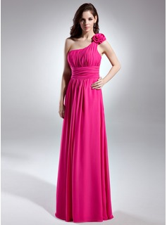 A-Line/Princess One-Shoulder Floor-Length Chiffon Bridesmaid Dress With Ruffle (007015613)