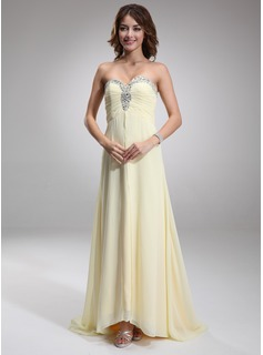 A-Line/Princess Sweetheart Asymmetrical Chiffon Evening Dress With Ruffle Beading (017016879)