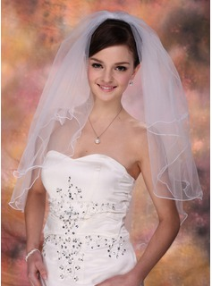 Two-tier Elbow Bridal Veils With Scalloped Edge
