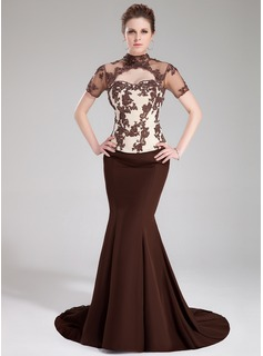Mermaid High Neck Sweep Train Satin Tulle Charmeuse Evening Dress With Lace Beading Sequins (017019454)