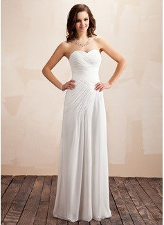 Corte A/Princesa Escote corazón Hasta el suelo Chifón Vestido de novia con Volantes