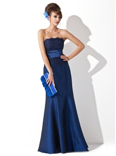 Trumpet/Mermaid Strapless Floor-Length Taffeta Evening Dress With Ruffle
