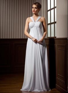 Corte imperial Escote en V Cola watteau Chifón Vestido de novia con Volantes Bordado