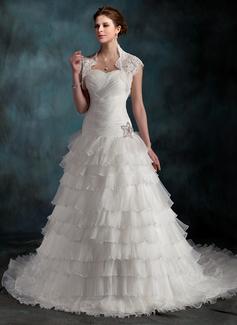 Corte A/Princesa Escote corazón Tren de la catedral Organdí Vestido de novia con Bordado Cascada de volantes