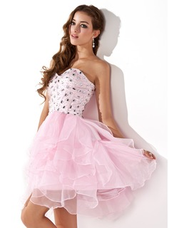 A-Line/Princess Sweetheart Short/Mini Organza Satin Homecoming Dress With Beading (022020580)