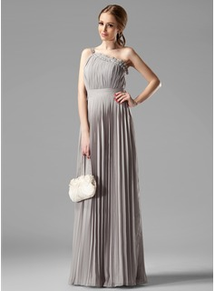 Empire One-Shoulder Floor-Length Chiffon Bridesmaid Dress With Ruffle Beading (007000957)