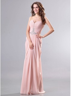 Sheath Sweetheart Floor-Length Chiffon Evening Dress With Ruffle Beading (017014270)