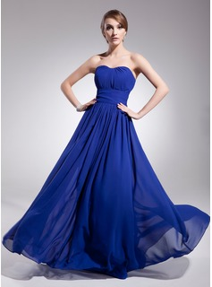 A-Line/Princess Sweetheart Floor-Length Chiffon Evening Dress With Ruffle (017014561)