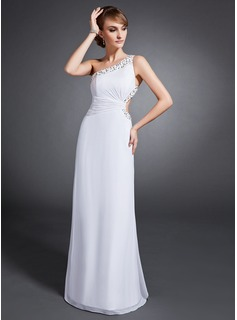 Sheath One-Shoulder Floor-Length Chiffon Evening Dress With Ruffle Beading Sequins (017015106)