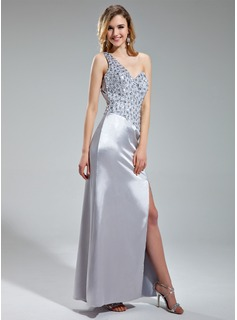 Sheath/Column One-Shoulder Floor-Length Charmeuse Prom Dress With Beading Sequins Split Front