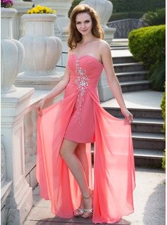 Sheath Sweetheart Floor-Length Chiffon Prom Dress With Ruffle Beading (018024657)