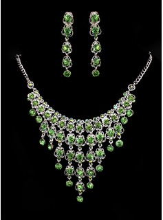 Jóias (Green Rhinestone Two Piece Ladies' Dazzling Wedding Jewelry Set 011005480)
