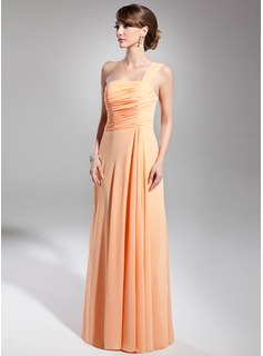 A-Line/Princess One-Shoulder Floor-Length Chiffon Holiday Dress With Ruffle (020014706)