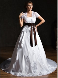 A-Line/Princess Strapless Chapel Train Taffeta Lace Wedding Dress With Ruffle Sashes