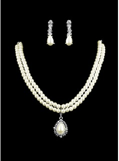 Ivory Pearl Two Piece Mini Heart Ladies Necklace and Earrings Jewelry Set (011005583)