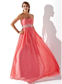 Corte imperial Escote corazn Hasta el suelo Chifn Vestidos de baile de promocin con Volantes Bordoneado (018005353)