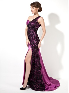 A-Line/Princess One-Shoulder Sweep Train Charmeuse Lace Evening Dress With Ruffle