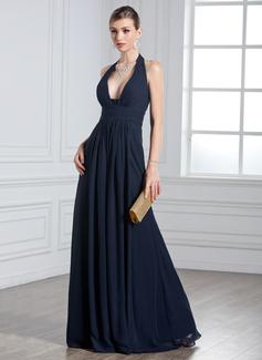 Corte A/Princesa Cabestro Vestido Chifón Vestido de noche con Volantes