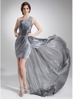 Sheath One-Shoulder Asymmetrical Organza Prom Dress With Ruffle Beading