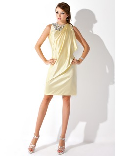 Sheath Scoop Neck Knee-Length Charmeuse Cocktail Dress With Beading (016021206)