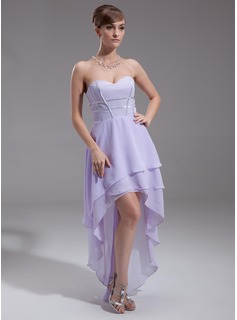 A-Line/Princess Sweetheart Asymmetrical Chiffon Holiday Dress (020016253)