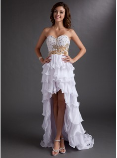 A-Line/Princess Sweetheart Asymmetrical Chiffon Prom Dress With Beading Sequins