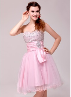 A-Line/Princess Sweetheart Knee-Length Tulle Charmeuse Cocktail Dress With Ruffle Beading Sequins