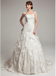 Ball-Gown Court Train Tulle Charmeuse Lace Wedding Dress With Ruffle Beadwork (002017566)
