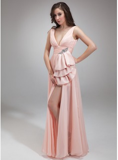 A-Line/Princess V-neck Sweep Train Chiffon Prom Dress With Ruffle Beading
