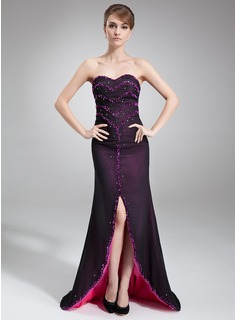 Sheath Sweetheart Asymmetrical Chiffon Evening Dress With Beading (017016836)