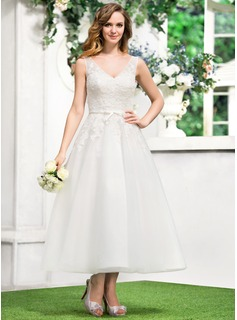 A-Line/Princess V-neck Tea-Length Satin Tulle Wedding Dress With Lace Bow(s)