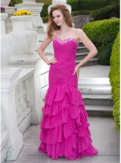 Mermaid Sweetheart Floor-Length Chiffon Prom Dress With Ruffle Beading (018024670)