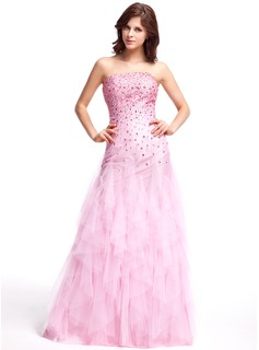 A-Line/Princess Strapless Floor-Length Taffeta Tulle Prom Dress With Beading