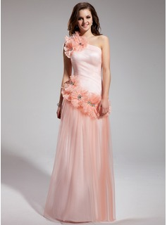 A-Line/Princess One-Shoulder Floor-Length Tulle Prom Dress With Ruffle Beading Flower(s)