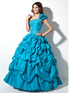 Ball-Gown One-Shoulder Floor-Length Taffeta Quinceanera Dress With Ruffle Beading (021004653)