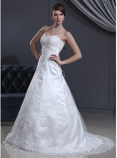 A-Line/Princess Sweetheart Court Train Satin Tulle Wedding Dress With Lace Beadwork (002000126)