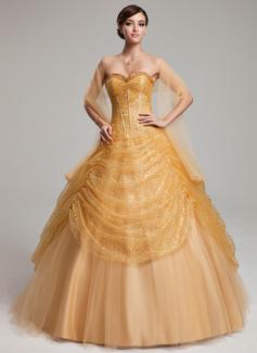 Duchesse-Linie Herzausschnitt Bodenlang Tüll Pailletten Quinceañera Kleid (Kleid für die Geburtstagsfeier) mit Rüschen