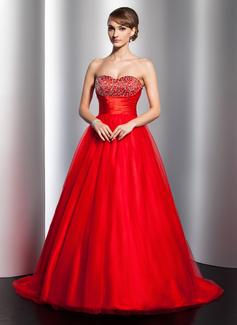 Duchesse-Linie Herzausschnitt Pinsel Schleppe Satin Tüll Quinceañera Kleid (Kleid für die Geburtstagsfeier) mit Rüschen Perlen verziert