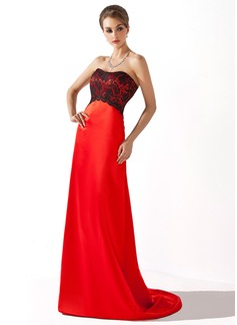 Empire Sweetheart Sweep Train Charmeuse Lace Bridesmaid Dress