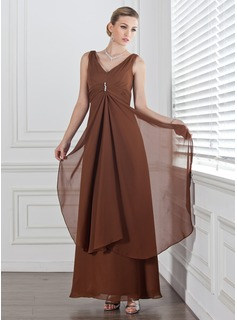 Empire V-neck Floor-Length Chiffon Bridesmaid Dress With Ruffle Beading (007001778)